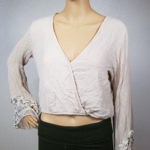 Beige Boho Wrap Vintage Lace Long SleevCrop Top